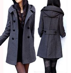 women's dark grey Wool Hooded coat double breasted button Coat Long Jacket Autumn winter coat  Hoodie Cape Women from fashionclothingshow on Etsy