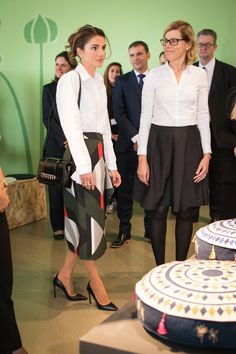 5 December 2017 - Queen Rania visits IKEA Jordan to view Jordanian collection - shirt by Joseph, skirt by Fendi, shoes by Dior, bag by Givenchy