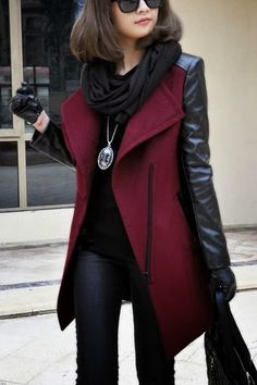 Love this coat! Burgundy and Black Colored Leather Jacket and Black Scarf Discover and share your fashion ideas on misspool.com                                                                                                                                                                                 More Winter Jackets For Women, Winter Coats For Women, Women's Winter Coats, Pea Coats Women, Leather Sleeve Jacket, Coloured Leather Jacket, Burgundy Leather Jacket, Black Leather, Maroon Jacket