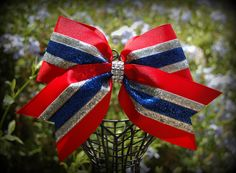 red silver and blue cheer bow. See more at  Facebook Ribbons and Bows oh My or on our website http://ribbonsandbowsohmy.wix.com/ribbonsandbowsohmy