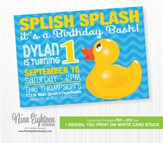 Rubber Duck 1st Birthday INVITATION. Yellow duckie on blue