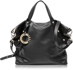 Francesco Biasia Iris Black Leather Handbag w/Shoulder Strap