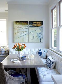tufted banquette by Massucco Warner Miller Interior Design.