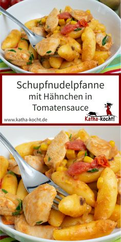 Schupfnudeln with chicken in tomato sauce - Katha-kocht! - Alle Rezepte - This Schupfnudelpfanne with chicken in tomato sauce is pure soul food – quick and uncomplicated wi - Hot Sauce Recipes, Pureed Food Recipes, Lunch Recipes, Meat Recipes, Dinner Recipes, Healthy Recipes, Creamy Tomato Sauce, Sauce Tomate, Healthy Protein