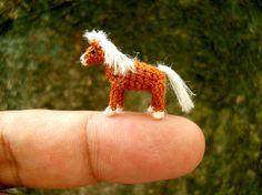 Brown Horse - Micro Amigurumi Miniature Crochet Tiny Stuffed Animal - Made To Order