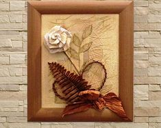Cute 3D flower and skeleton leaf picture, presented with ribbon, fabric, veneer and wire in a wooden box frame. A gorgeous original picture that will stand out in any room. This would make a great feature in your home, or a unique birthday, anniversary or New Home present.