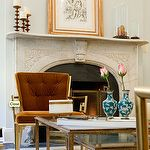 Fireplace mantel detail a perfect gray: katie lee joel's NYC apartment by nate berkus Blue Grey Walls, Navy Blue, Townhouse Designs, Manhattan Apartment, Nate Berkus, French Chairs, Living Room Designs, Living Rooms, City Living