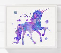 Unicorn Art Print, Watercolor Unicorn, Unicorn Painting, Nursery Wall Decor, Unicorn Poster, Baby Girl Nursery, Girls Room Decor, Purple