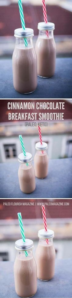 Cinnamon Chocolate Breakfast Smoothie Recipe [Paleo, Keto] Enjoy this delicious chocolate smoothie recipe for a fast and nutritious Paleo and Ketogenic breakfast. I used stevia as the sweetener in this recipe and - Chocolate Paleo, Chocolate Smoothie Recipes, Breakfast Smoothie Recipes, Healthy Smoothies, Delicious Chocolate, Healthy Food, Keto Smoothie Recipes, Blueberry Recipes, Healthy Eating