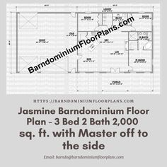 $595. Jasmine 3 Bed – 2 Bath – 2,000 sq. ft.–with Master off to the side. We sell semi-custom Barndominium floor plans and provide helpful tips to design and build your home whether it is DIY or you are paying a company. #architecture #barndominiums #home #modernbarn #barnhomefloorplans #beautifulbarn #homefloorplan #barnhomedesign #housedesign #barndominiumfloorplans #floorplan #dreambarn #barnhouse #barndominiumliving #barndominiumdesign #barndominiumdesign #barn #masterbedroom