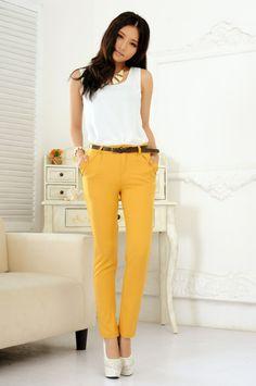 желтые брюки для офиса