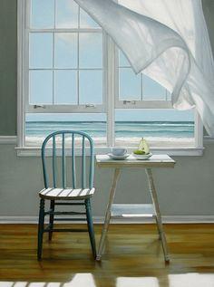 "Karen Hollingsworth Art ""The First Day"" Deco Marine, Indoor Outdoor, Window View, Open Window, Through The Window, Windows, Interior Paint, Coastal Living, Beautiful Paintings"