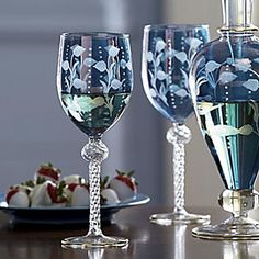 Set of 2 Handmade, Mouth-Blown Wine Glasses from Seventh Avenue ®