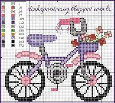 Pretty Cute Bike Cross Stitch or Perler Bead Pattern Cross Stitch Love, Cross Stitch Samplers, Cross Stitch Flowers, Modern Cross Stitch, Cross Stitch Charts, Cross Stitch Designs, Cross Stitching, Cross Stitch Embroidery, Hand Embroidery