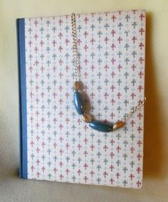 Mallard pottery beads with gold bead necklace