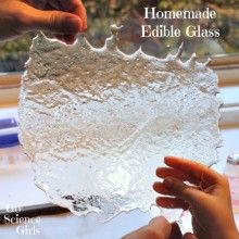 Homemade Edible Glass - fun edible science for kids from Go Science Girls girl Sugar Glass : Edible Science for Kids - Go Science Girls Kitchen Science, Science Party, Science Fair, Science For Kids, Summer Science, Physical Science, Science Cells, Science Chemistry, Easy Science