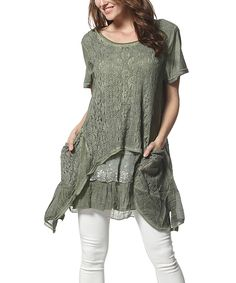 Look what I found on #zulily! Simply Couture Green Lace Sidetail Tunic by Simply Couture #zulilyfinds
