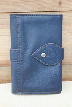 Compagnon en cuir, Porte chéquier,  grand portefeuille, cuir bleu pétrole