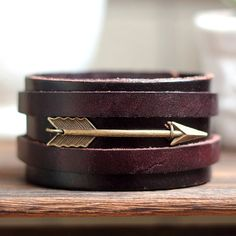 For Him- Arrow Cuff Antique Men's Brown Leather Cuff Bracelet, Leather Wrist Band Wristband Handcrafted Jewelry