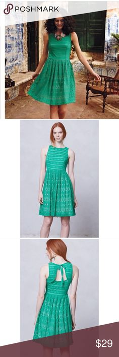 """Postmark Eyelet Sunstream Dress S St Patrick's Day Pretty green dress perfect for St Patrick's Day. Beautiful eyelet Detail. Fit and Flare. Fully lined. Great condition. Some piling on the inside but no issues on the outside.   Bust 16"""" Length 37"""" Anthropologie Dresses Mini"""