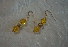Earrings Made with Swarovski Crystals - Sunflower