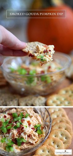 Smoked Gouda Pumpkin Dip. A creamy appetizer dip recipe brimming with salty-sweet flavors. A fall party pleaser made in only 20 minutes! LivingLocurto.com