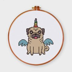 Funny pug unicorn #pug #unicorn #funnycrossstitch #puntocroce #crossstitch #crossstitching #xstitching #xstitch #moderncrossstitch #animalcrossstitch #dogcrossstitch