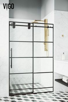 Welcome to the new wave of elegant bathroom design. With the same exceptional construction of VIGO's original Elan Sliding Shower door, this updated model features a unique grid design. Bold matte black hardware is complemented by solid black painted grid lines made to emulate metal frames.