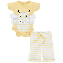 Babies R Us Neutral 2 Piece Long Sleeve Bee Bodysuit and Striped Pant Set