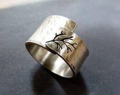 Lente boom ring Sterling zilveren ring ring van de brede door Mirma