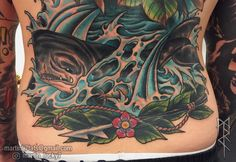#whale #backpiece #water #waves #neotraditional #tattoo #tattoos