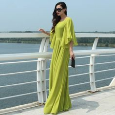 2015 new autumn maxi women chiffon dress long maxi vintage to the floor plus overall black color over the knee 7xl >>> You can find out more details at the link of the image.