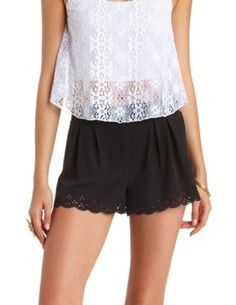 Laser-Cut Scalloped High-Waisted Shorts: Charlotte Russe