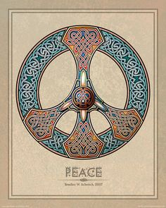 Celtic Knotwork Peace Sign print, from Archival Celtic Art Prints Paz Hippie, Hippie Peace, Hippie Art, Hippie Chick, Celtic Symbols, Celtic Art, Celtic Knots, Vikings, Iron Age