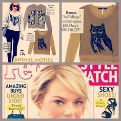 Kensie Owl Sweater as featured in People Style Watch, September 2012