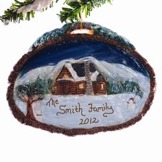 Log Cabin Christmas Ornament   Personalized by Christmaskeeper, $14.95