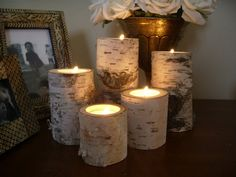 5 Birch wedding Candle holders tea lights set by miwoodcrafts, $18.99