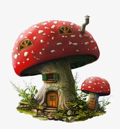 Hottest Pics Clay diy house Concepts Mushroom House, Mushroom Clipart, Red, Hand Painted PNG Transparent Image and Clipart for Free Down Clay Fairy House, Gnome House, Fairy Garden Houses, Clay Projects, Clay Crafts, Diy And Crafts, Mushroom House, Mushroom Art, Fairy Houses