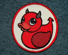 Circular Devil Duckie Iron on Patch by GerriTullis on Etsy, $9.00