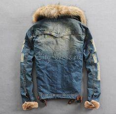 Мужская джинсовая куртка мех