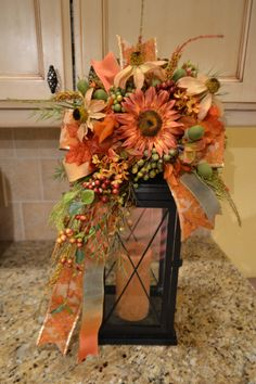 Fall Leaf Ribbon And Rust Sunflower Lantern by kristenscreations, $39.50