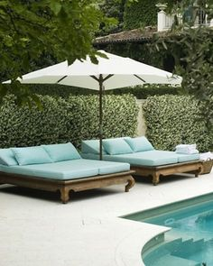 Dreamy poolside inspiration. Our new summer cushion collection would sit perfectly on these minty coloured sunbeds. Via @tempodadelicadeza