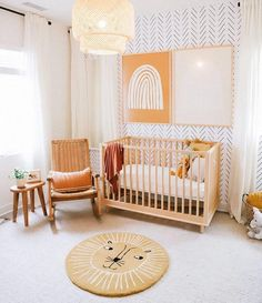 A beautiful gender neutral nursery transformation with chevron wallpaper accent wall! Baby Nursery Decor, Baby Bedroom, Baby Boy Rooms, Nursery Furniture, Baby Decor, Nursery Room, Boho Nursery, Baby Nursery Wallpaper, Project Nursery
