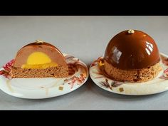 Chocolate Espresso Mousse Cakes with Mango Filling and Chocolate Mirror Glaze - YouTube