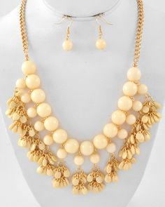 Gold Tone / Cream Acrylic / Lead Compliant / Cluster / Necklace & Fish Hook Earring Set