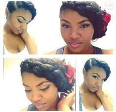Natural Hair | UpDo | Braid | Natural Hairstyles | Protective Styles | Braid | Goddess Braid | PinUp | Makeup | IG: @Bleu_Majik