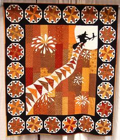 #Halloween #quilt - I love the sense of perspective in this quilt. Really clever!