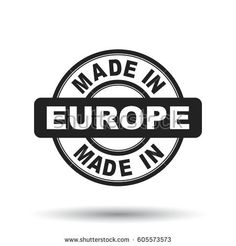 Made in Europe black stamp. Vector illustration on white background