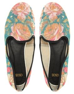 Asos Leon Slipper Shoes With Floral Print