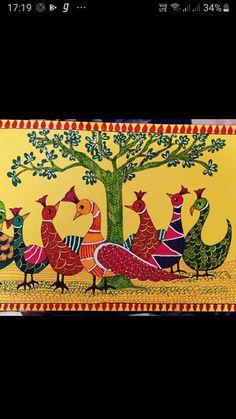 Gond Painting, Mural Painting, Mural Art, Madhubani Paintings Peacock, Madhubani Art, Pichwai Paintings, Indian Art Paintings, Indian Folk Art, Art Drawings For Kids